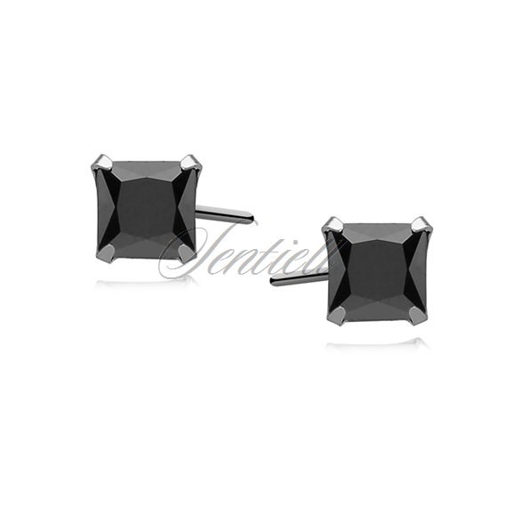 Silver (925) earrings black zirconia 5 x 5mm square