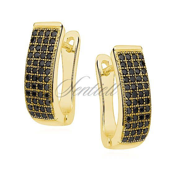 Silver (925) earrings black zirconia, gold-plated