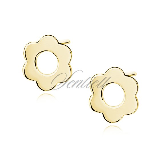 Silver (925) earrings celebrity, gold - plated flowers