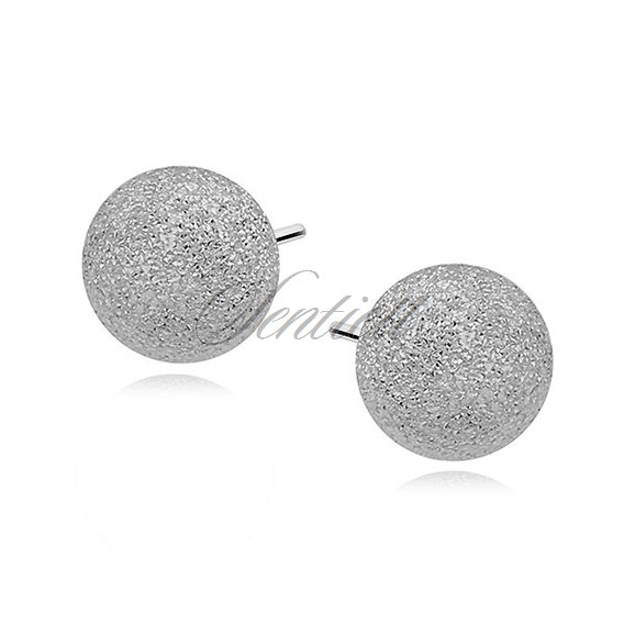 Silver (925) earrings diamond-cut balls 7mm
