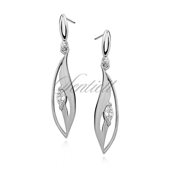Silver (925) earrings elegant satin with zirconia