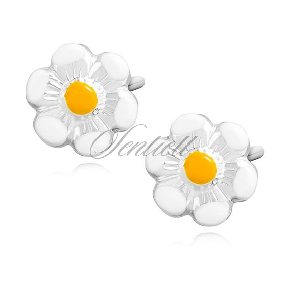 Silver (925) earrings - enamelled flowers