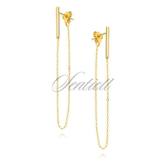 Silver (925) earrings - gold-plated chain
