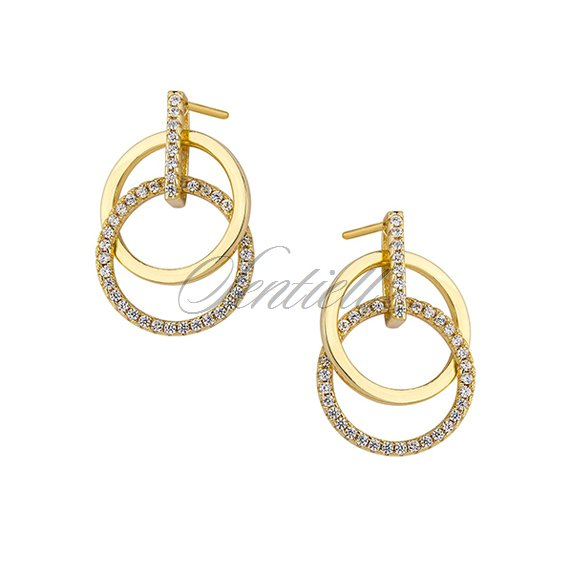 Silver (925) earrings - gold-plated cirlces with zirconia
