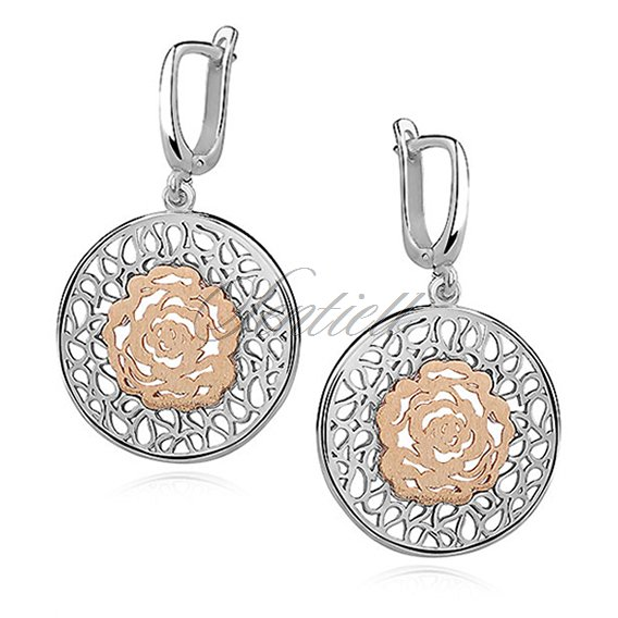 Silver (925) earrings - gold-plated flower
