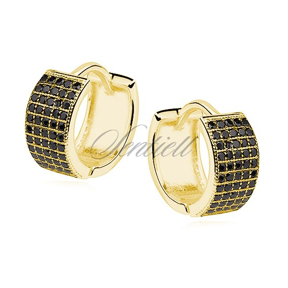 Silver (925) earrings hoop with five rows of black zirconia, gold-plated