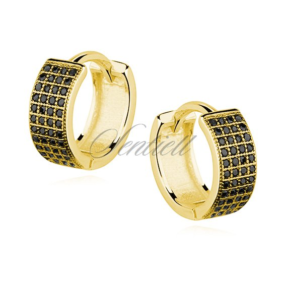 Silver (925) earrings hoop with four rows of black zirconia, gold-plated