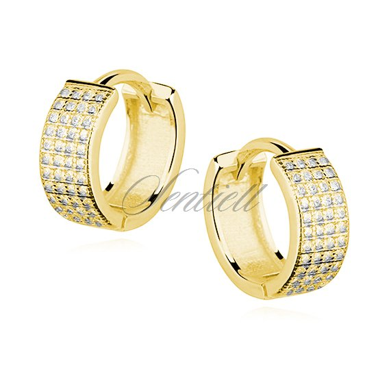 Silver (925) earrings hoop with four rows of zirconia, gold-plated
