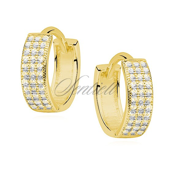 Silver (925) earrings hoop with three rows of zirconia, gold-plated