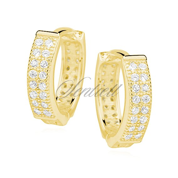 Silver (925) earrings hoop with two rows of zirconia, gold-plated
