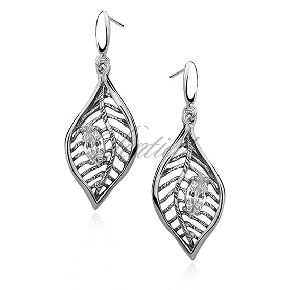 Silver (925) earrings leaf high polished
