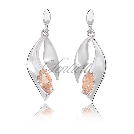 Silver (925) earrings light topaz zirconia