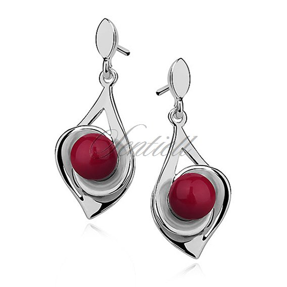 Silver (925) earrings - red ball