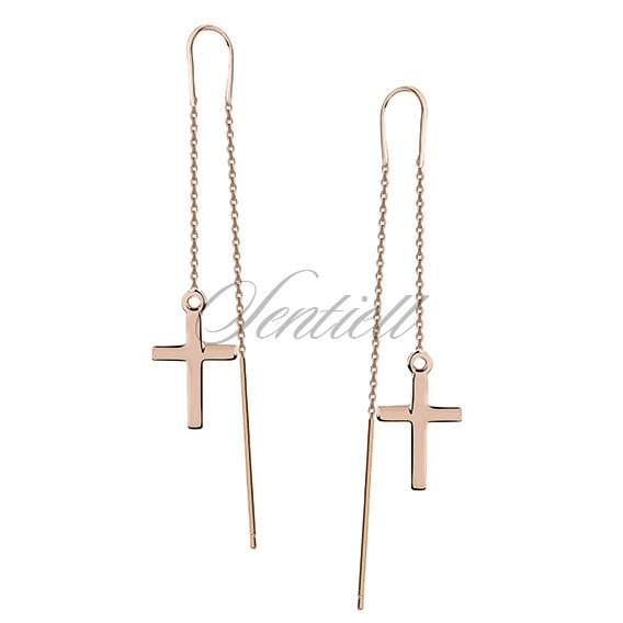 Silver (925) earrings - rose gold-plated crosses