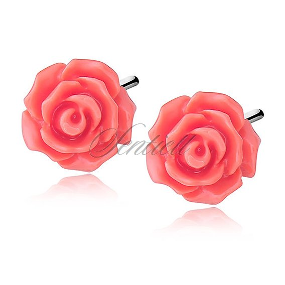 Silver (925) earrings roses - salmon