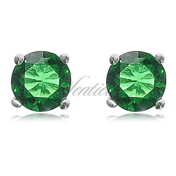 Silver (925) earrings round zirconia diameter 4mm green