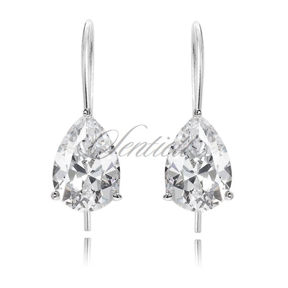 Silver (925) earrings tear-shaped white zirconia 6 x 8mm