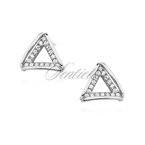 Silver (925) earrings - triangle with zirconia