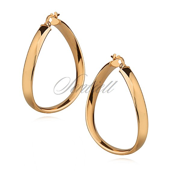 Silver (925) earrings wavy hoops - highly polished, gold-plated