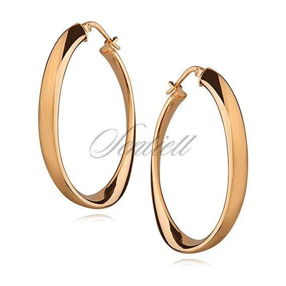 Silver (925) earrings wavy oval - highly polished, gold-plated