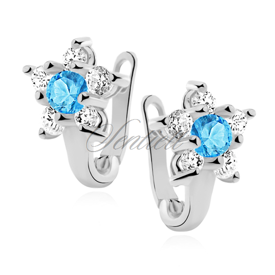 Silver (925) earrings white and light blue zirconia flower