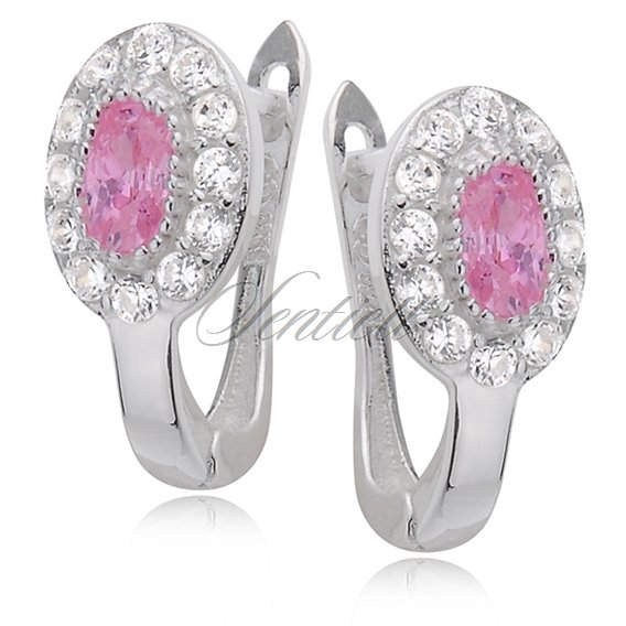 Silver (925) earrings white and pink