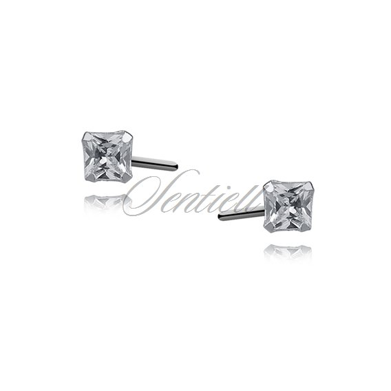Silver (925) earrings white zirconia 3 x 3mm square