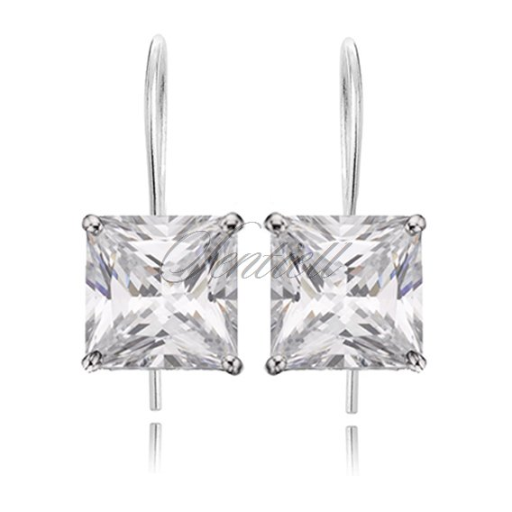 Silver (925) earrings white zirconia 8 x 8mm