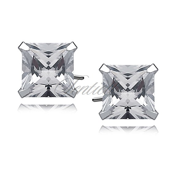 Silver (925) earrings white zirconia 8 x 8mm square