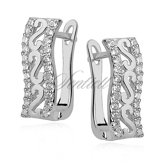 "Silver (925) earrings with ""S"" pattern and zirconia"