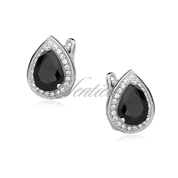 Silver (925) earrings with black zirconia