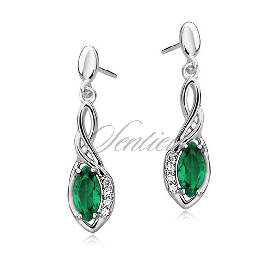 Silver (925) earrings with emerald zirconia