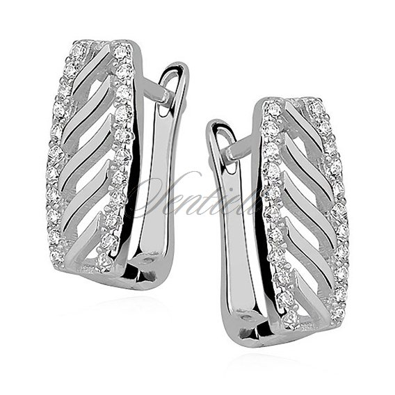 Silver (925) earrings with patterns and zirconia