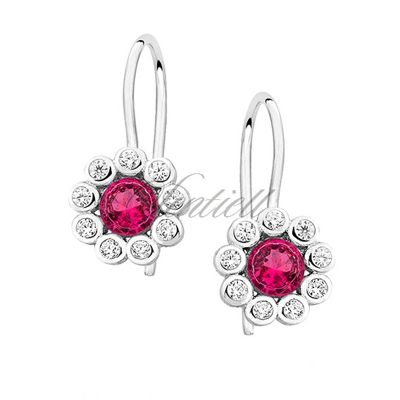 Silver (925) earrings with pink zirconia