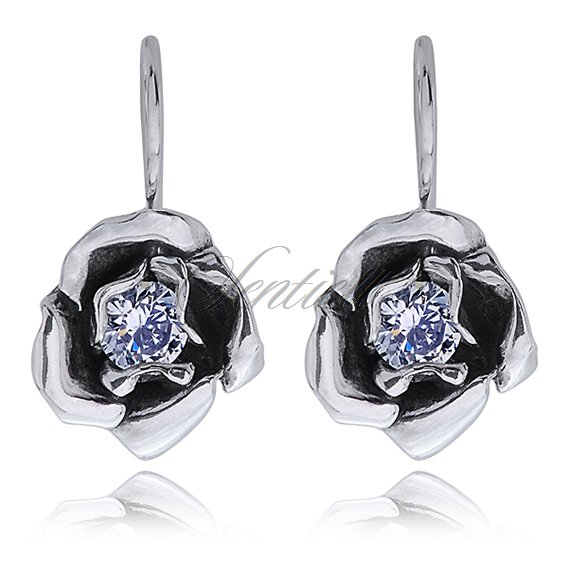Silver (925) earrings zirconia flowers