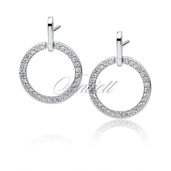 Silver (925) elegant circle earrings with zirconia