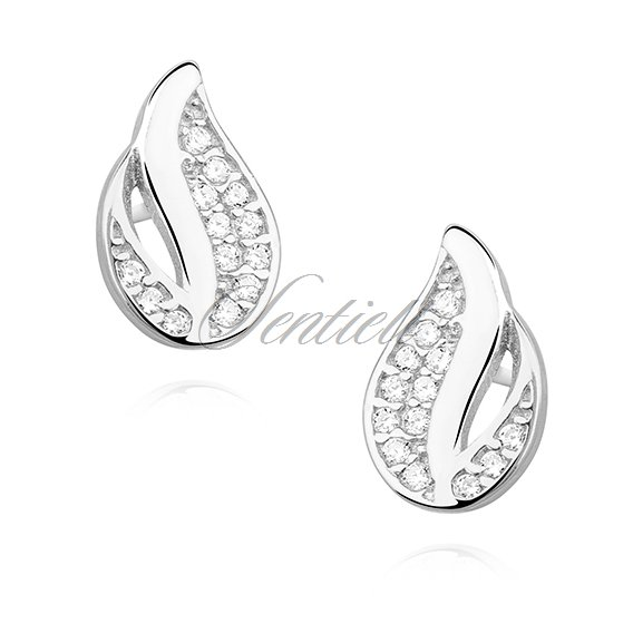 Silver (925) elegant earrings - flame with zirconia