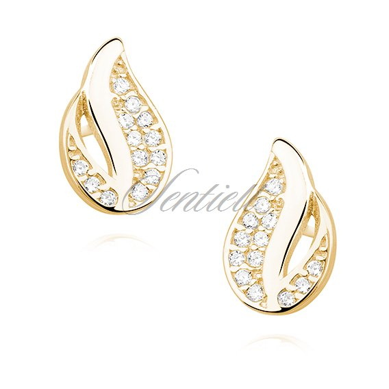 Silver (925) elegant earrings - gold-plated flame with zirconia