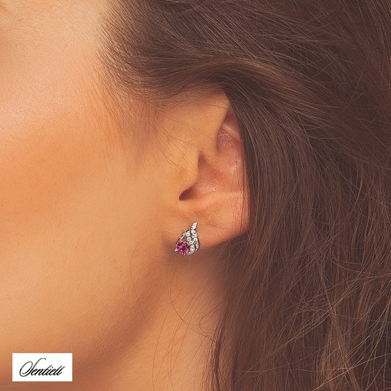 Silver (925) elegant earrings with ruby zirconia