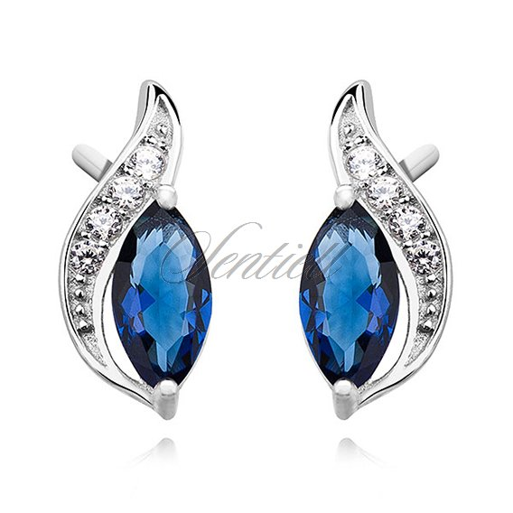 Silver (925) elegant earrings with sapphire marquoise zirconia
