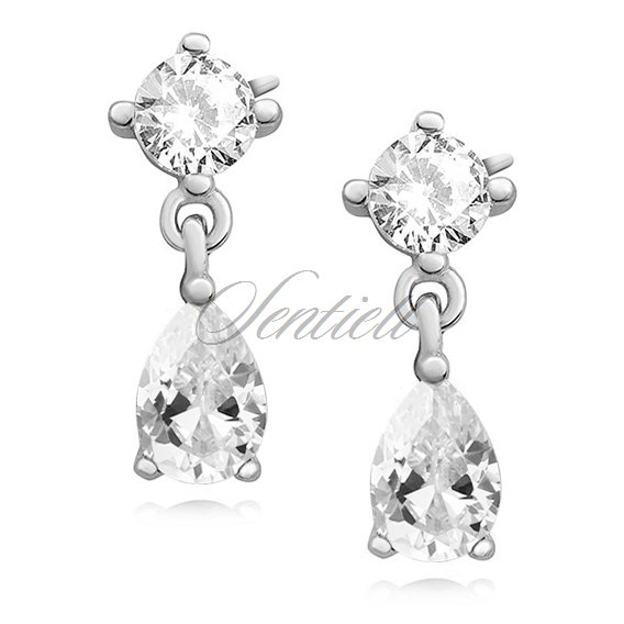 Silver (925) elegant earrings with white zirconia