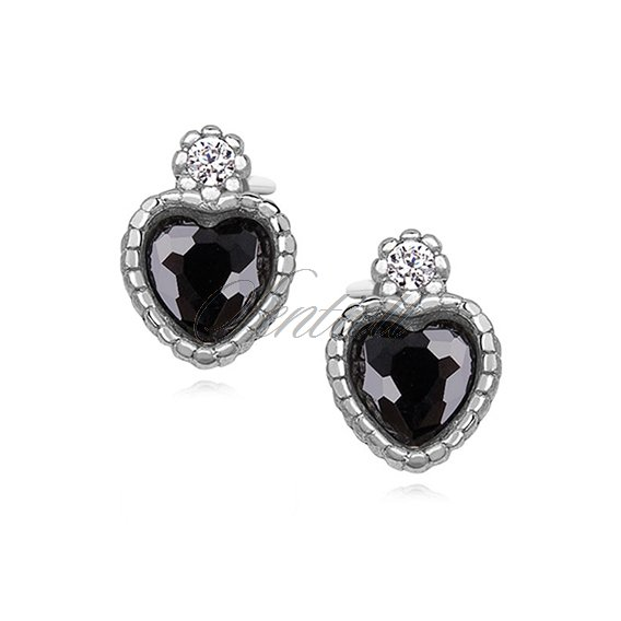 Silver (925) elegant heart earrings with black zirconia