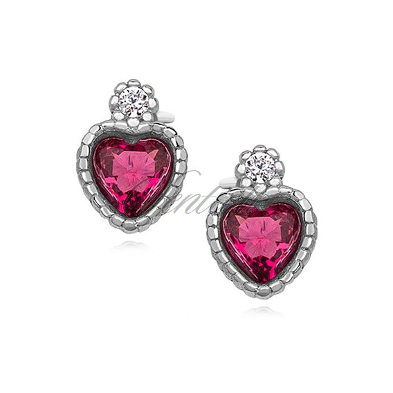Silver (925) elegant heart earrings with ruby zirconia
