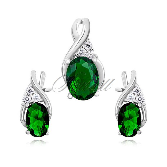 Silver (925) elegant jewelry set with emerald zirconia