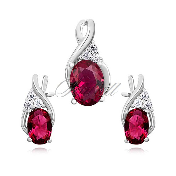 Silver (925) elegant jewelry set with ruby zirconia