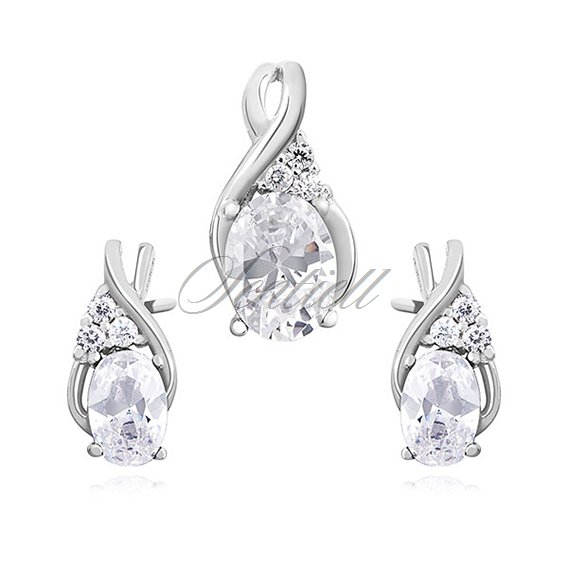 Silver (925) elegant jewelry set with white zirconia