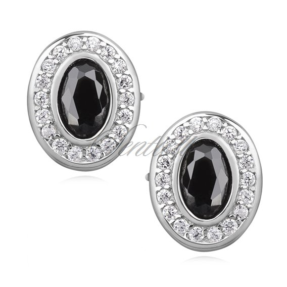 Silver (925) elegant oval earrings with black zirconia