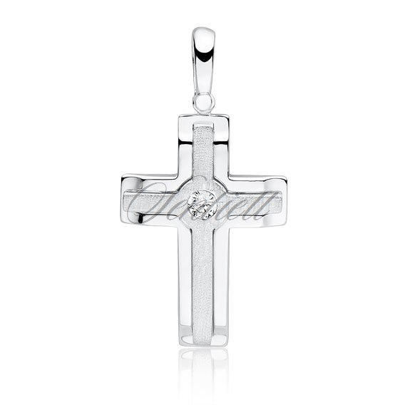 Silver (925) elegant pendant cross with zirconia