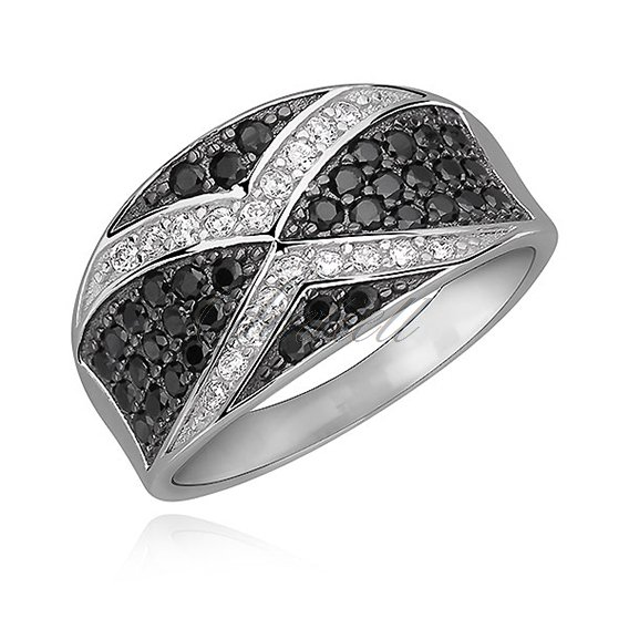 Silver (925) elegant ring with black and white zirconia - X