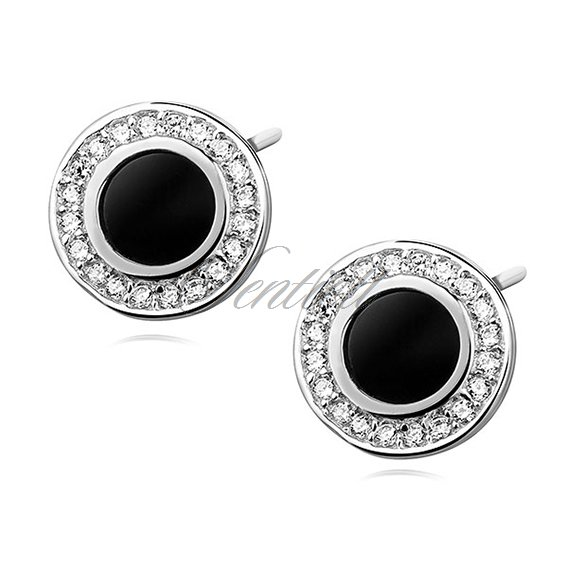 Silver (925) elegant round earrings with black stone